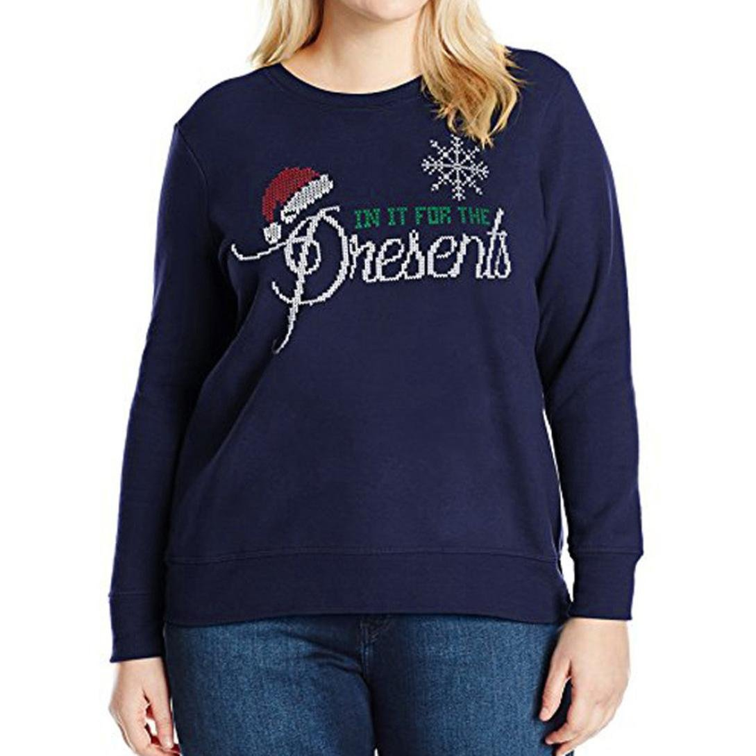 TiTCool 6 Kinds Women's Plus Size Christmas Letters Pattern Sweatshirt Blouse Tops (Navy | B, 2XL)