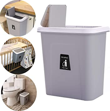 KaryHome Hanging Trash Can for Kitchen Cabinet and Office,Small Garbage Can  with Lid for Bedroom and Bathroom,Diaper Trash Can,Grey