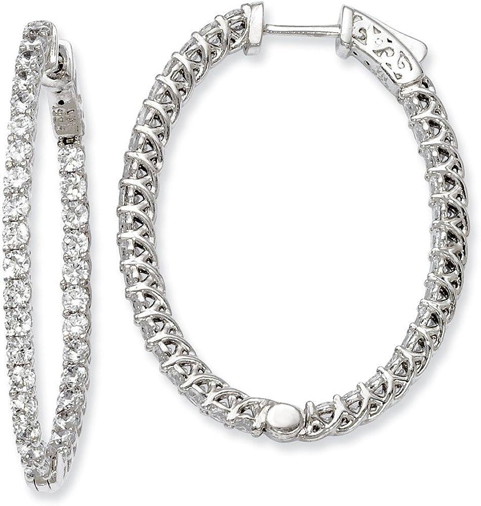 925 Sterling Silver Black Rhodium Plated Black CZ Hinged Hoop Earrings