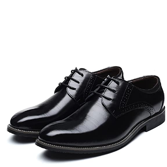 Amazon.com | JOYTO Dress Shoes Mens, Oxford Brogue Business Wedding Formal Leather Casual Lace Red Black Yellow 5.5-11 | Oxfords