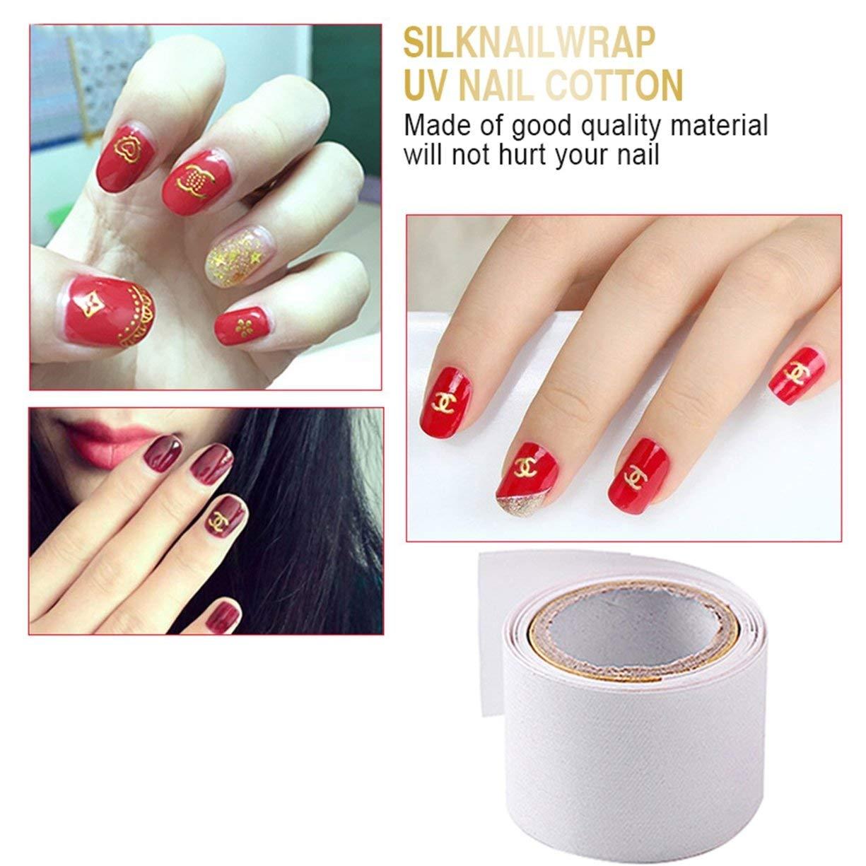 1 rollo de 1 m autoadhesivo de seda del abrigo de uñas Reforzar el uso de uñas antes de UV Gel de uñas de acrílico herramienta de protección del clavo del ...