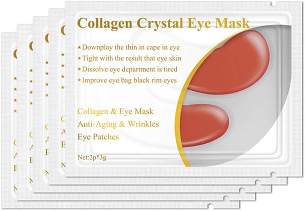 1 par de proteína de colágeno Mascarilla para ojos Eliminación de parches oculares Círculo oscuro Antienvejecimiento Antiarrugas Hidratante Facial Reafirmante Cuidado de los ojos - Rojo