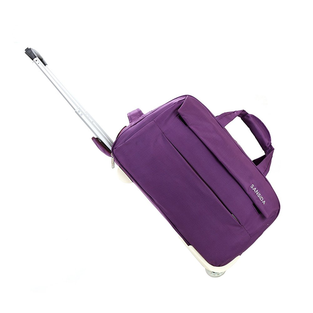トロリーバッグ、オックスフォード布トラベルバッグ、大容量ダッフルバッグ、ショートジャーニーバッグ、男性と女性の搭乗バッグ Medium Purple B07FZ4JPN7