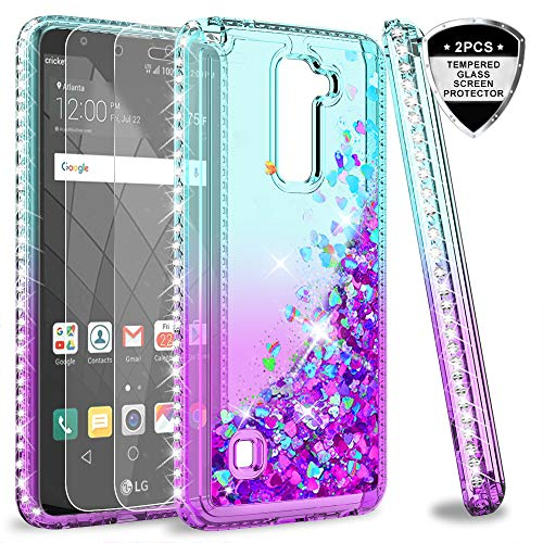 LG Stylo 2 V/Stylo 2/ Stylo 2 Plus/Stylus 2 Case with Tempered Glass Screen Protector for Girls Women, LeYi Shiny Glitter Moving Quicksand Clear Bling Phone Case Cover for LG LS775 ZX Teal/Purple (Best Cell Phone Case For Lg G2)