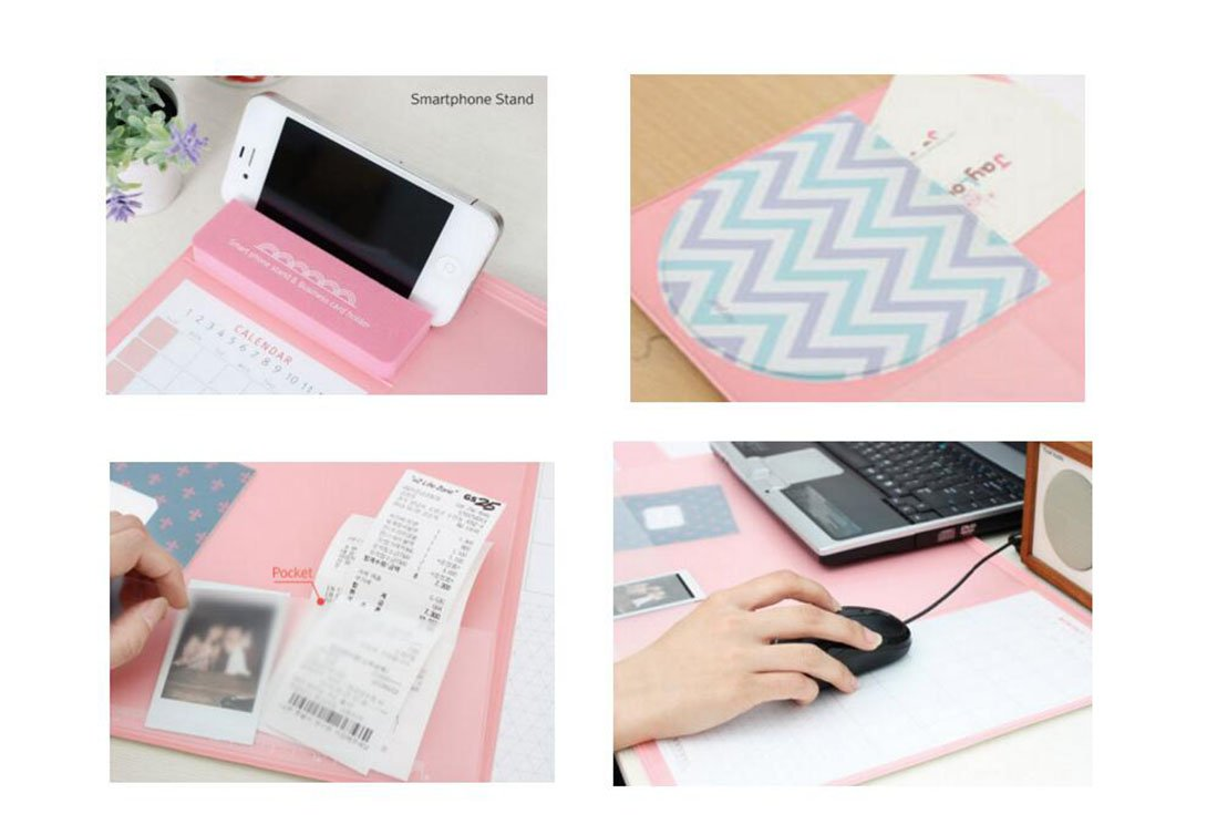 Large Size Mouse Pad Anti-slip Desk Mouse Mat Waterproof Desk Protector Mat with Phone Stand, Note Pad, Pockets, Dividing Rule, Calendar and Pen Holder (Pink)