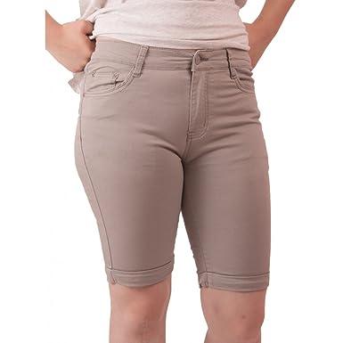 75fbd1f6555d7 Primtex Bermuda Femme en Jean Taille Haute Coton Stretch léger-: Amazon.fr:  Vêtements et accessoires