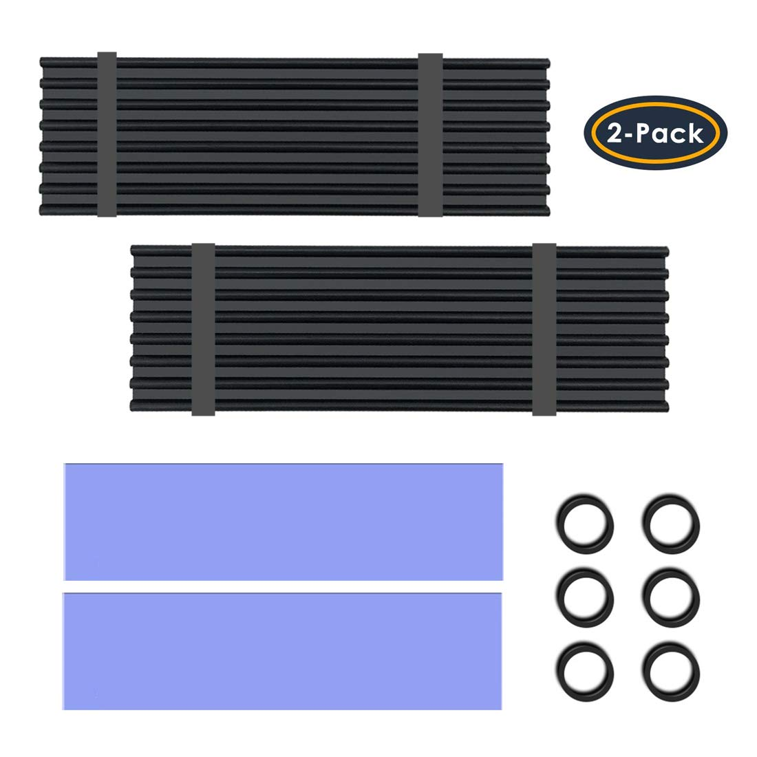 2 Pack M.2 NVMe Aluminum Heatsinks Cooler with Nano Silicone Thermal Pad