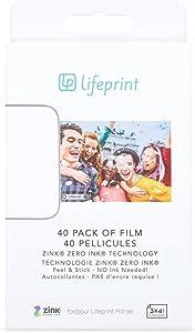 Lifeprint Papier Photo 40 - Papel Fotográfico, Papel de Impresión Fotográfica 7.6 x 5 cm, Tecnología Innovadora Zink Respetuosa con el Medio Ambiente, Cara Adhesiva, Impresión sin Tinta, 40 Unidades