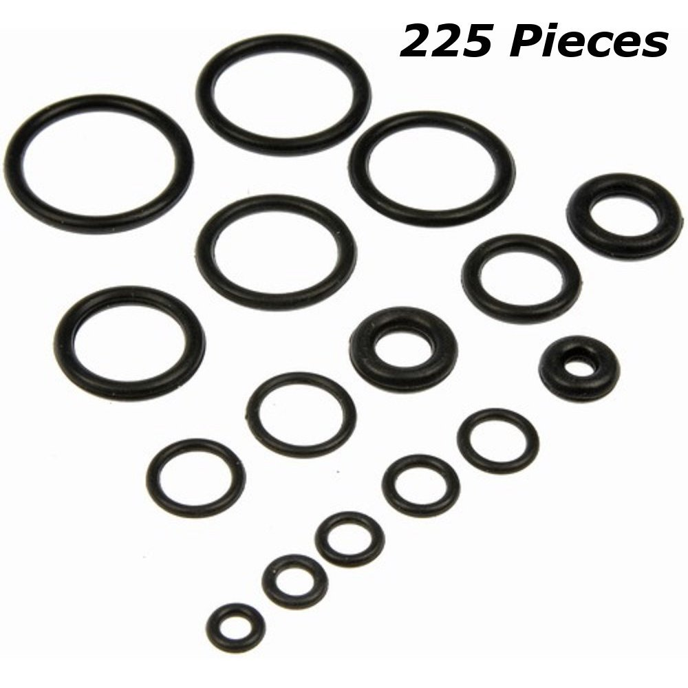 225 Piece O Rings Assortment Set - Heavy Duty Rubber Rings for Professional Plumbing, Supplies, Tools, Automotive, Garage, Plumber, Mechanic, Workshops, Repairs, Air & Gas Connections -By Katzco by Katzco