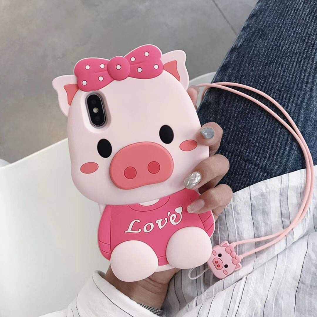 e6166b9f6 Amazon.com: iPhone XR Case Soft Silicone Cute Cartoon Lovely Pig Hello Kitty  Cover,Cool Cases for Kids Girls Ladies (iPhone XR): Cell Phones &  Accessories
