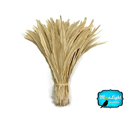 """Rooster Tails, 2 Inch Strip - 14-16"""" IVORY Bleach Long Coque Tails Feathers: Toys & Games"""