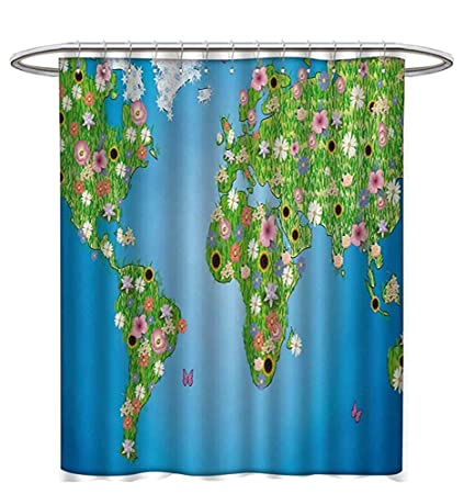 Floral World Map Shower Curtains 3D Digital Printing Daisy Lily Daffodil Poppy Botany Bouquet