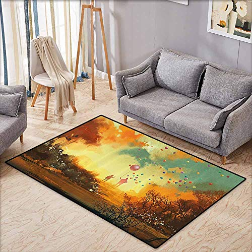 Sassafras Kids Wizard - Outdoor Patio Rug,Fantasy,Silhouette of Little Boy and Wizard with Balloons Forest Print,Extra Large Rug,3'3