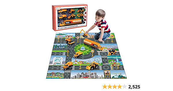 TEMI Diecast Engineering Construction Vehicle Toy Set w/ Play Mat, Truck Carrier, Forklift, Bulldozer, Road Roller, Excavator, Dump Truck, Tractor, Alloy Metal Car Play Set for Kids, Boys & Girls
