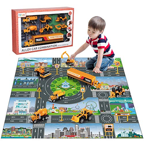 24 in 1 Alloy Carrier Mini Engineering Truck for Kids Toddlers Early Educational Toys Party Favor Birthday for Boys and Girls Age 3+ Arscniek Construction Vehicles Toy Kit with Play Mat