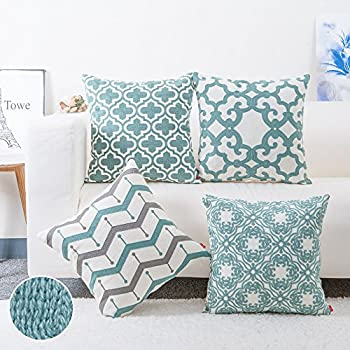 baibu Cotton Teal Embroidery Pattern Decor Throw Pillow Case Turquoise Cushion Cover Set of 4