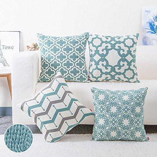 Baibu cotton teal embroidery pattern decor throw pillow for Sofa cushion covers dubai