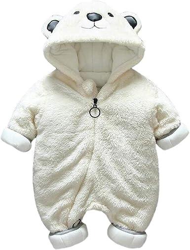 Alwayswin Neugeborene Baby M/ädchen Jungen Winter Pl/üsch Overall Cartoon Leopardenmuster Strampler Kleidung Bequem Weich Babykleidung Schlafanzug Spielanzug