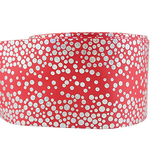 75MM Printed Polka Dots Grosgrain Fabric Riboon Foil Hologram Ribbons 10 Yards (red)