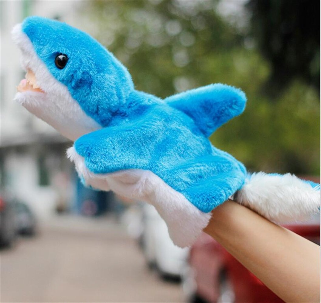 EoamIk Burattini Morbidi Peluche Animali Mano Marionette Guanto raccontando Giocattoli Bambole Storia (squalo Blu)