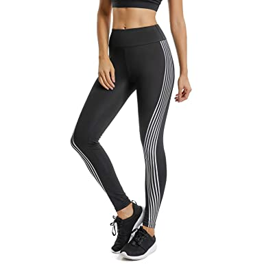 e820cac024 FITTOO Women's Side Iridescent Strips Printed Workout Leggings High Waist Yoga  Pants with Reflective Material #