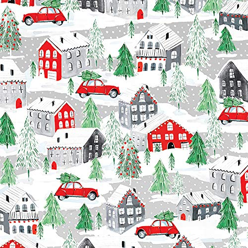 Small Town Christmas Folded Wrapping Paper, 2 Feet x 10 Feet Folded Christmas Gift Wrap with Snow-Covered Houses and Cars, WRAP & Revel® F