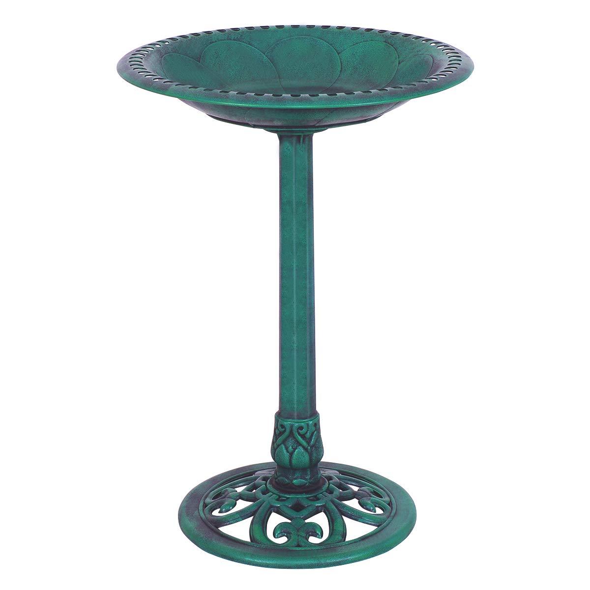 PETSJOY 28'' H Bird Bath Bird Feeder Pedestal, Antique Resin Birdbath for Outdoor Yard or Garden, Freestanding Decoration with Sitting Place, Copper (Antique Green)