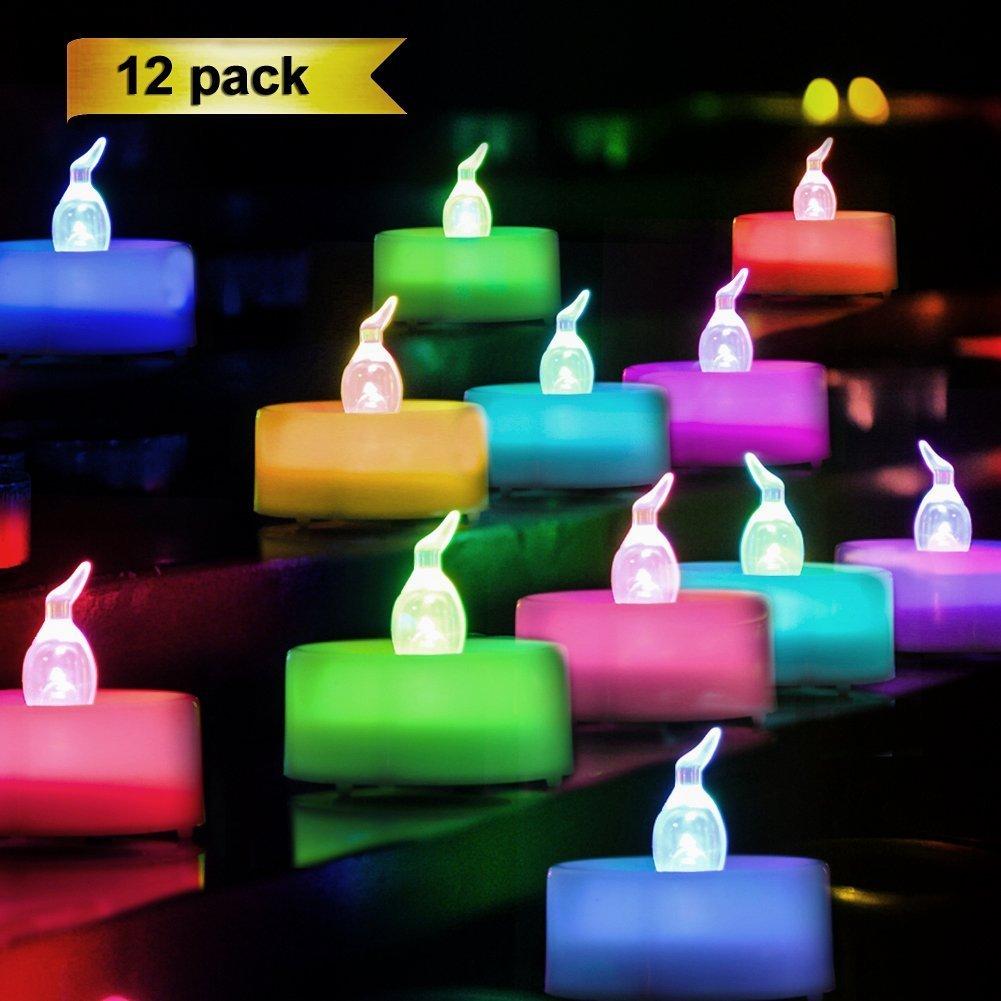 Homemory Lot de 12 Lumières Bougies à LED, de Thé à Piles sans flammes,Changement de Couleur, Réaliste et Bright, Puissance de la Batterie, Fausses Bougies électriques pour Votive, Table Party Anniversaire Mariage(coloré) [Classe énergétique A+] xiamen sel