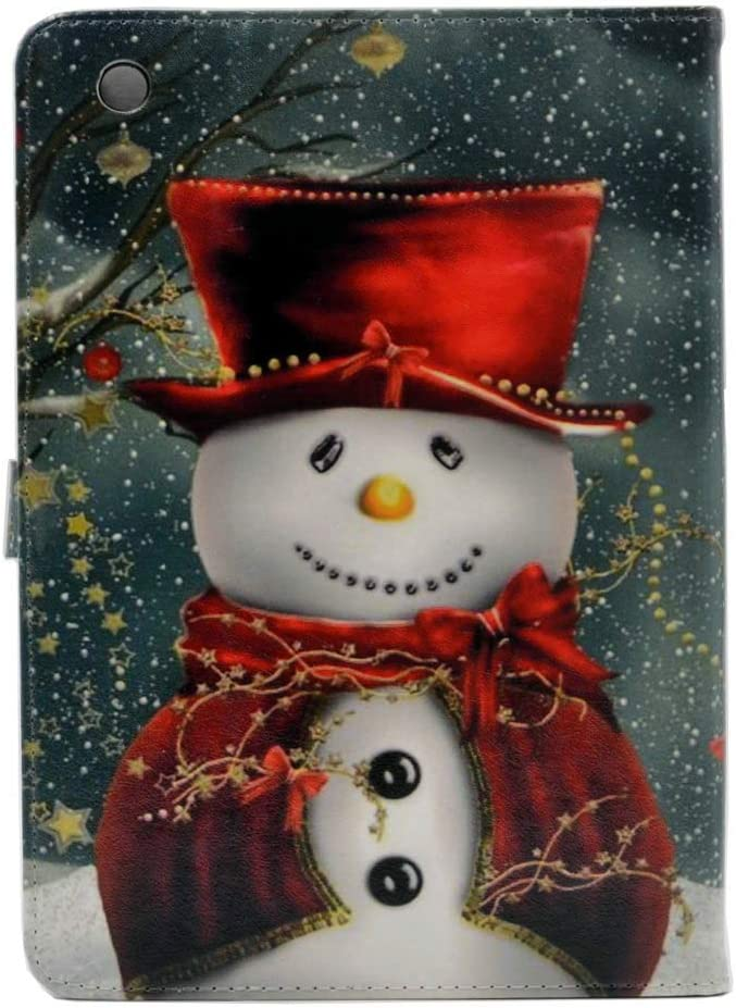 CYD Case for iPad Mini 2 3 - Lovely Christmas Snowman with Red Scarf and Top Hat Leather Flip Case Kickstand Cover Women Girl Gifts Kids for iPad Mini 3 ,Mini 2 (2012-2014 Released)