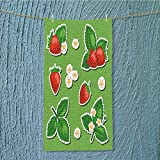 L-QN microfiber towel vector set of isolated stickers with strawberry berries leaves and flowers High Absorbency W35.4 x H11.8 INCH