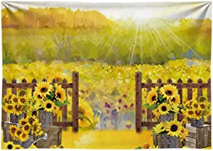 Funnytree 7x5FT Econ Polyester Sunflower Garden Field Photography Backdrop for Baby Shower Rustic Floral Wood Fence Cake Smash Birthday Party Banner Background with Pocket Photo Booth