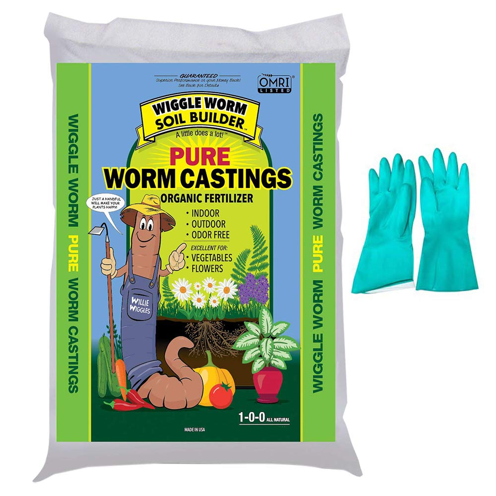 Wiggle Worm Unco Industries Builder Worm Castings, 30 lb Compost, Soil, 30-Pound (Bundled with Pearsons Protective Gloves) (1 Pack) by Wiggle Worm