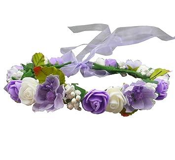 257aee81853 Handmade Adjustable EVA Rose Flowers Hair Garland Head Crown Flower Girl  Hair Piece Wedding Headpiece Bridal