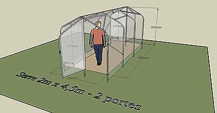 Chalet-Jardin 902800 Notus Invernadero túnel Doble de jardín Puerta Acero Transparente: Amazon.es: Jardín