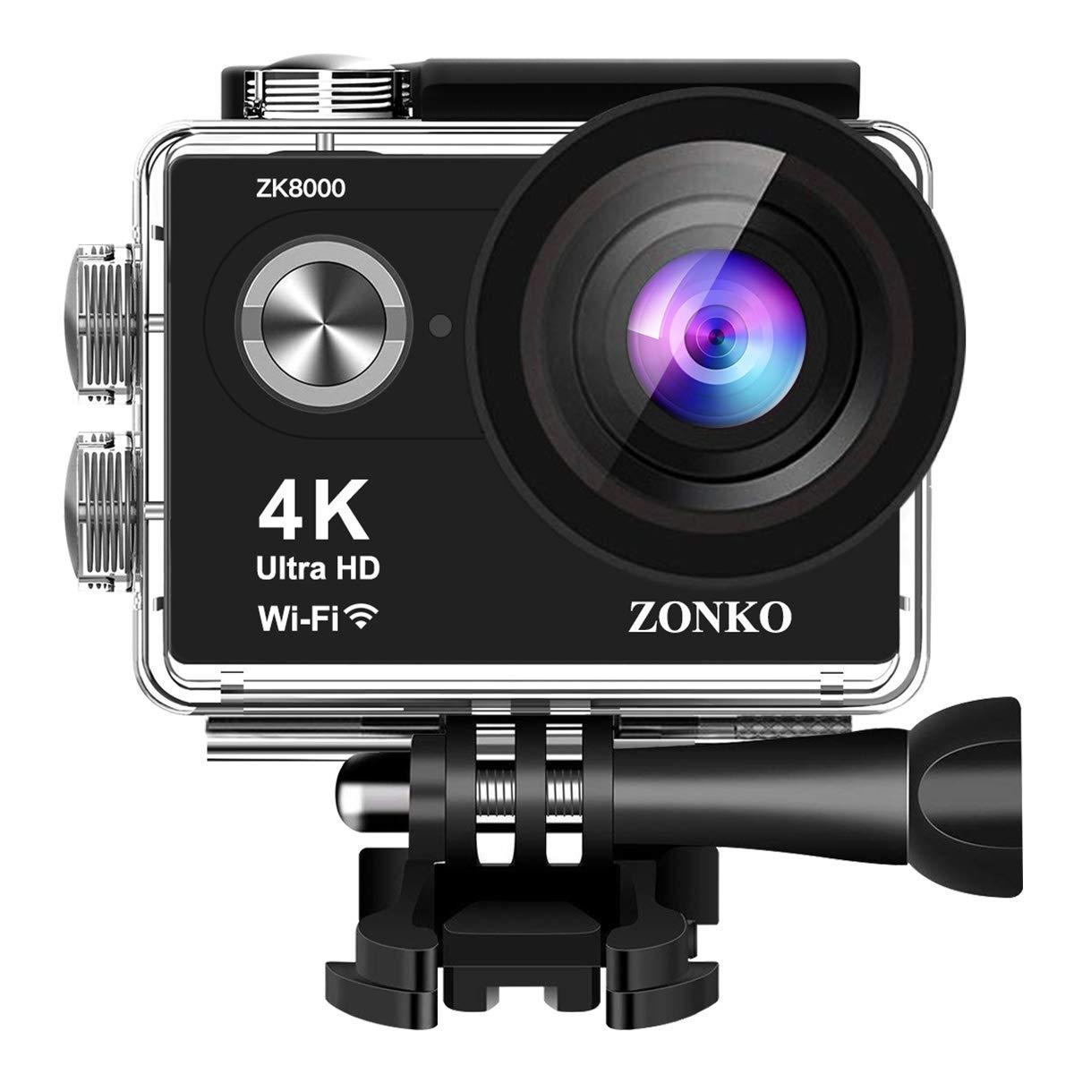 Action Kamera ZONKO 4k Sport Action Cam Wi-Fi 12MP Ultra HD 30M Unterwasserkamera 2 Zoll LCD 170°Weitwinkel Helmkamera mit 2 verbesserten Batterien und Zubehör Kits und Accessoires (Schwarz 4K) ZK8000