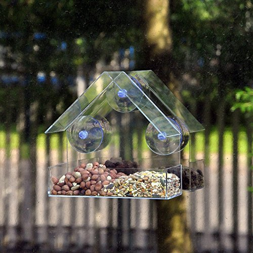 Fueyou Window Bird Feeder with Strong Suction Cups and Seed Tray, Outdoor Birdfeeders for Wild Birds Finch Hanging Birdhouse Kits Drain Holes 3 Extra Suction Cups