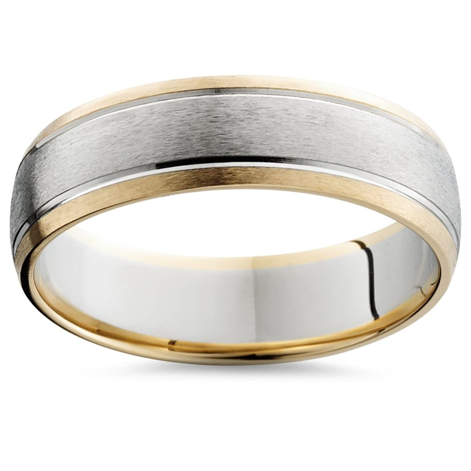 6MM Mens 14k Gold Two Tone Brushed Wedding Ring Band New | Amazon.com