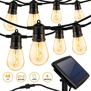 HueLiv Solar String Lights Outdoor 48FT, Waterproof LED Patio Lights with 15+2 Shatterproof LED Light Bulbs Warm White 4 Modes for Garden Backyard Cafe Party Decor