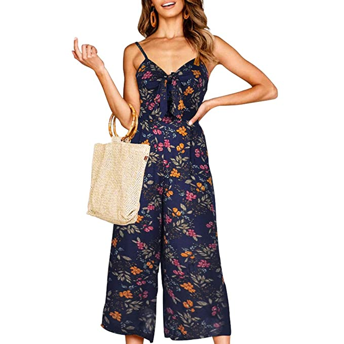 361ca730cf1c Women Floral Boho Beach Wide Jumpsuits Strappy Backless Casual Crop Romper S