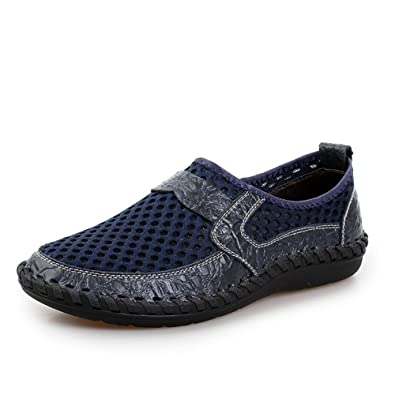 b83215489b0c BERTERI Men s Mesh Breathable Slip-On Loafers Outdoor Lightweight Walking  Casual Shoes Stitching Honeycomb Hiking