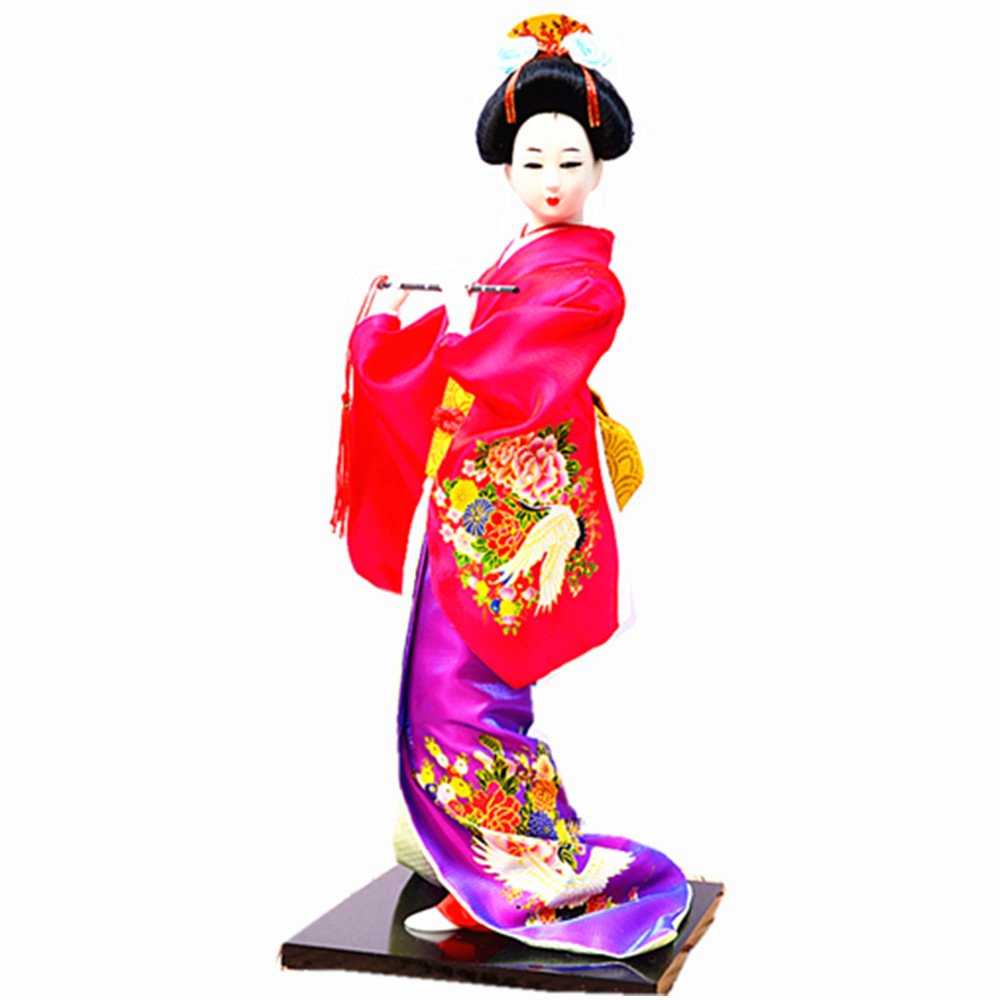 JG.Betty 14'' 38cm Christmas Dolls Decorative Doll Japanese Folk Kimono Geisha Doll Maiko Doll Puppet Stand on Base for Decorative Home and Hotel Gifts Doll (14 Inch, Rose Red Doll JD019)