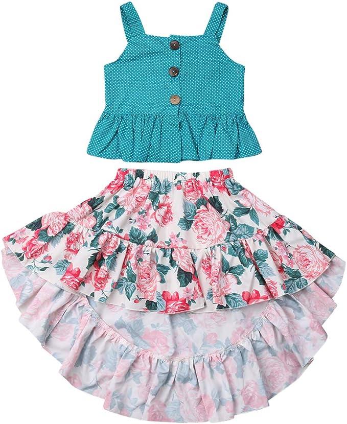 Amazon.com: Conjunto de falda de verano para niña + falda ...