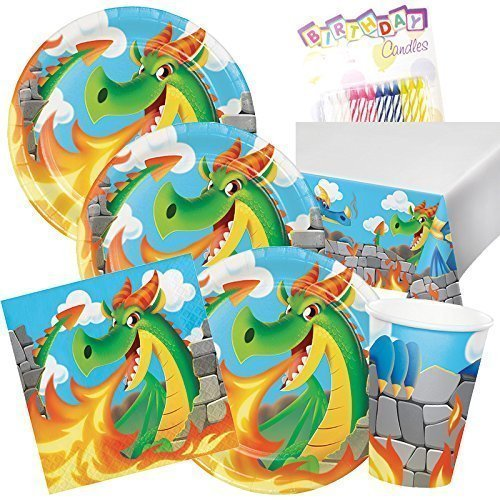 Mythical Dragons Theme Party Supplies Pack (Serves-16) Plates Napkins Cups and Tablecloth - Serpent Dragon Party Supply Tableware Set Kit includes Birthday Candles