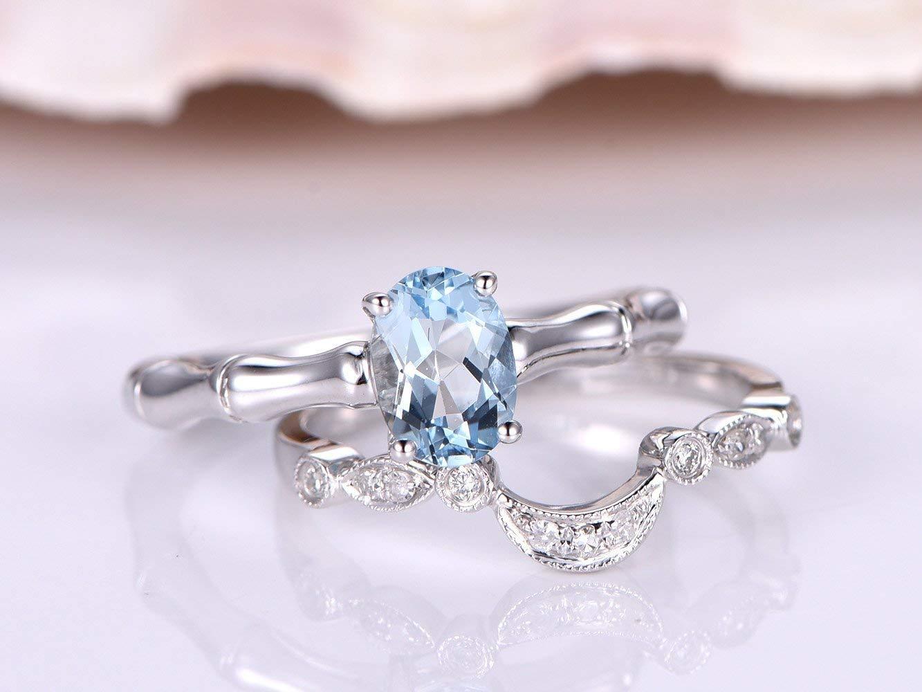 0.75 CT NATURAL AQUAMARINE MARQUISE CUT DIAMOND 14K ROSE GOLD Fn WEDDING RING