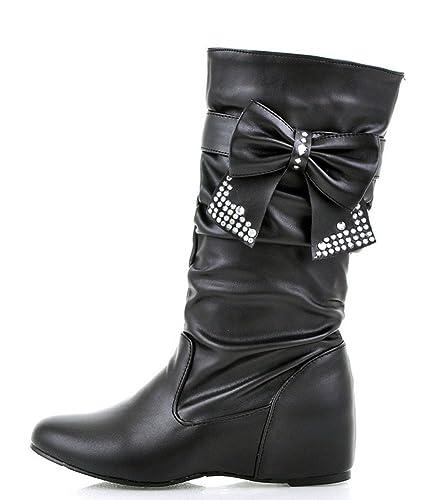 Women's Sweet Bowknot Rhinestone Height Mid Calf Boots
