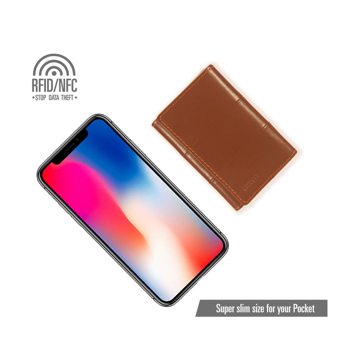 Ikepod Tri-fold Key Wallet//Holder Full-Grain Leather 6 Hooks /& 2 Card Slot