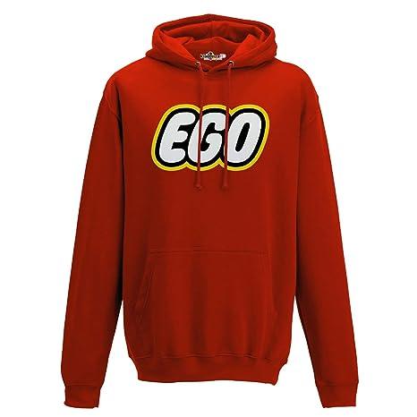 KiarenzaFD Sudadera Capucha Parodia para Hombre Lego Ego Logo Trash Divertido 1, Fire Red