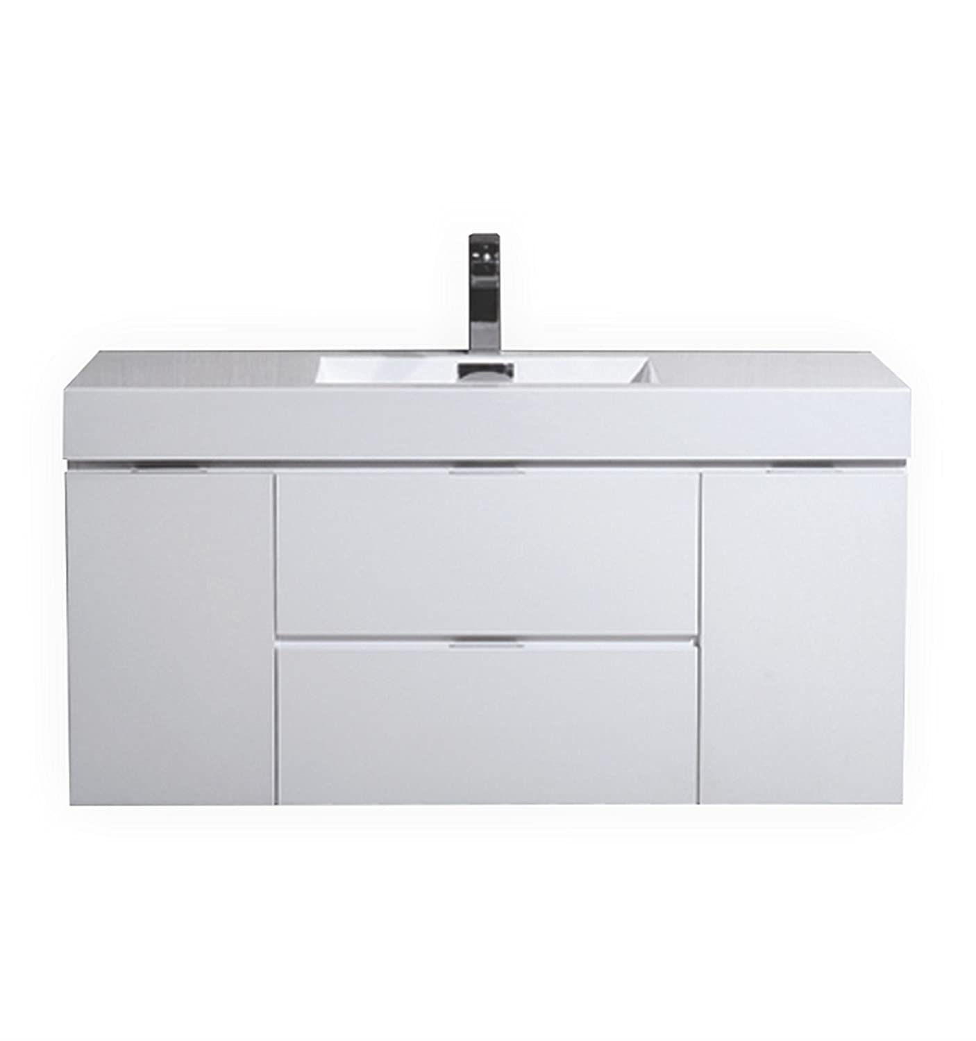 Kube Bath Bliss 48 High Gloss White Wall Mount Modern Bathroom