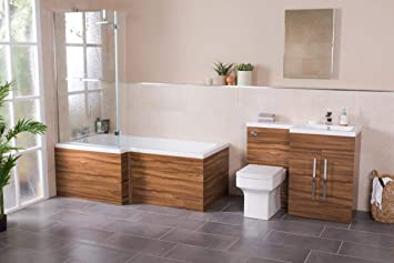 Ensemble salle de bain avec baignoire L et meuble lavabo ...