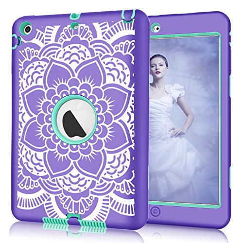 iPad mini/2/3 Case, Hocase Shockproof Hybrid Dual Layer Hard Rubber Protective Case with Cute Flower Design for Apple iPad Mini 1st/2nd/3rd gen 7.9-inch - Purple/Teal